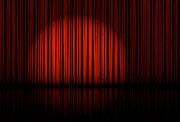 illustrations, cliparts, dessins animés et icônes de projecteurs sur les rideaux de scène. vecteur. - theatre