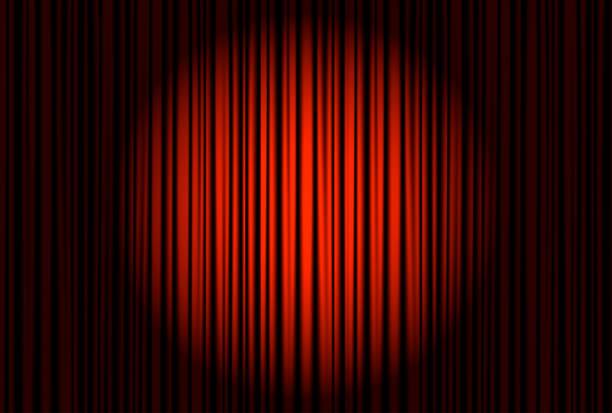 spotlight auf der bühne vorhang.   vektor. - plüschmuster stock-grafiken, -clipart, -cartoons und -symbole