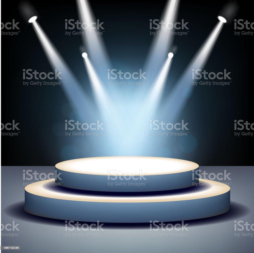 Spotlight shining on empty stage vector art illustration