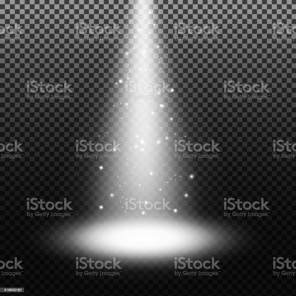 Spotlight shining with sprinkles on transparent background vector art illustration