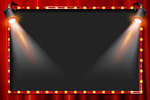 A spotlight theatre stage with coloured spotlights and red stage curtain drapes. Vector illustration