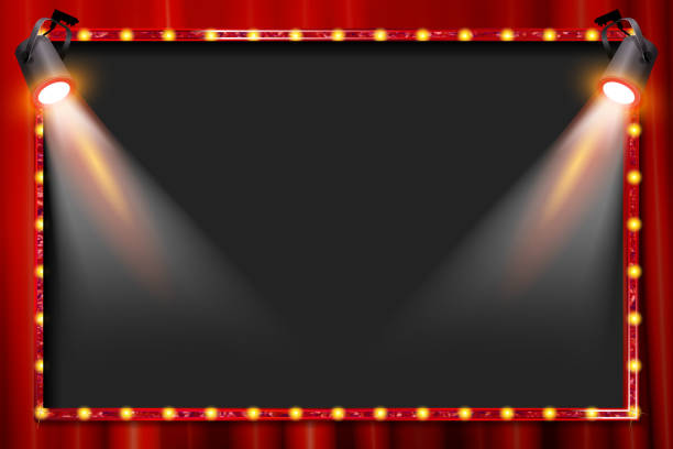 A spotlight theatre stage A spotlight theatre stage with coloured spotlights and red stage curtain drapes. Vector illustration stage light stock illustrations