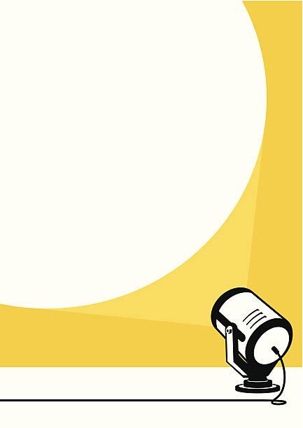 Spotlight Spotlight projecting to blank wall spot lit stock illustrations