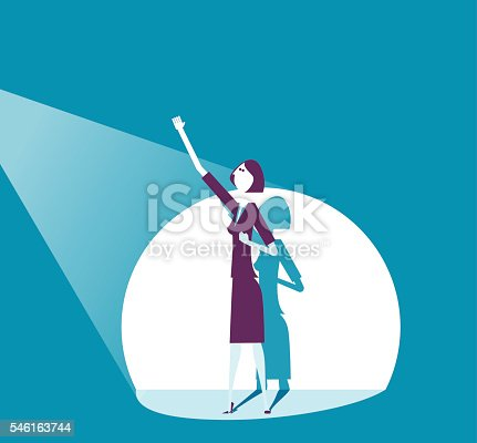 Vector illustration -  A business man raises his fist in celebration of success on stage in a spotlight.