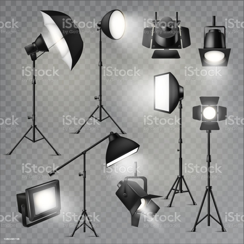 Spotlight vector light show studio with spot lamps on theater stage...