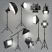 Spotlight vector light show studio with spot lamps on theater stage illustration set of projector lights photographing movie equipment isolated on transparent background.