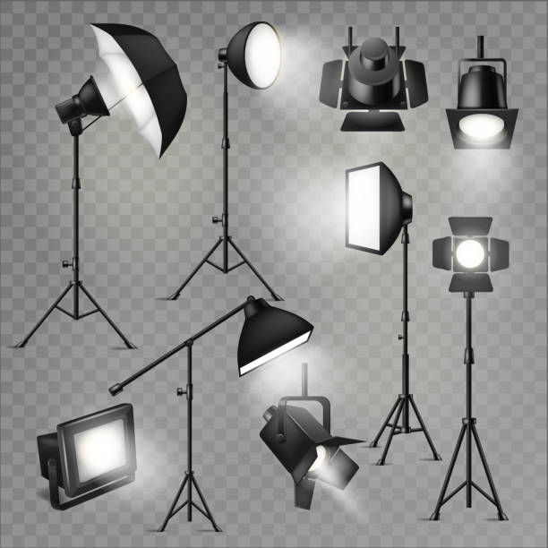 Spotlight vector light show studio with spot lamps on theater st Spotlight vector light show studio with spot lamps on theater stage illustration set of projector lights photographing movie equipment isolated on transparent background. performing arts event stock illustrations