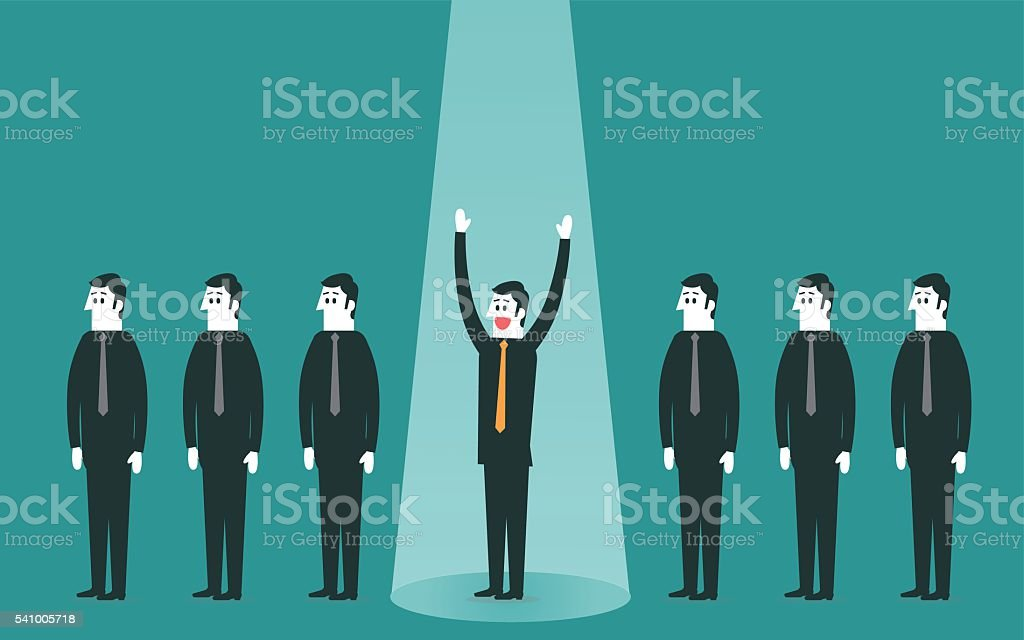 Spotlighted businessman vector art illustration