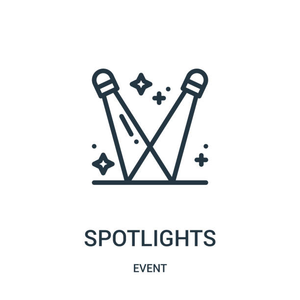 spotlights icon vector from event collection. Thin line spotlights outline icon vector illustration. spotlights icon vector from event collection. Thin line spotlights outline icon vector illustration. Linear symbol for use on web and mobile apps, logo, print media. spotlight stock illustrations