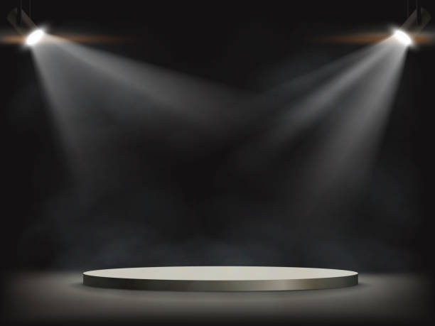 Spotlights illuminates a round empty stage. Spotlights illuminates a round empty stage. Background for presentation and awards. Vector illustration. spotlight stock illustrations