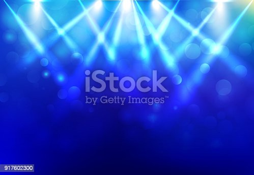 Spotlights lighting disco party stage with blured bokeh on blue dark background. Vector illustration