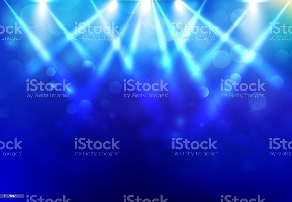 Spotlights lighting disco party stage with blured bokeh on blue dark background. vector art illustration