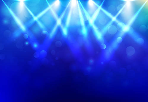 Spotlights Lighting Disco Party Stage With Blured Bokeh On Blue Dark Background Stock Illustration - Download Image Now