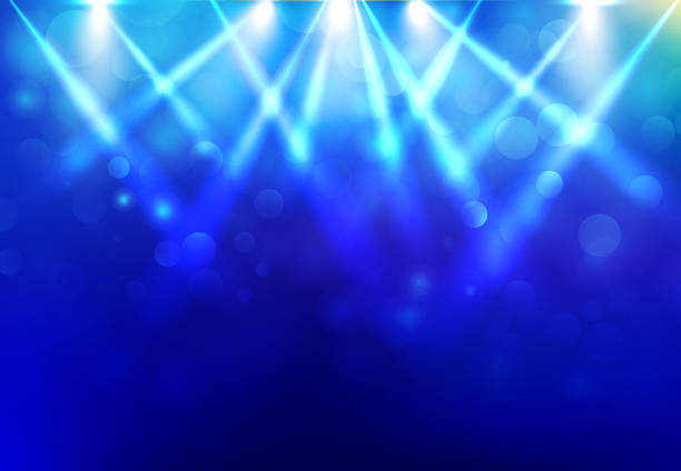 spotlights lighting disco party stage with blured bokeh on blue dark background. - reflektor światło elektryczne stock illustrations