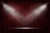 Spotlights on red curtain background. Vector cinema, theater or circus background