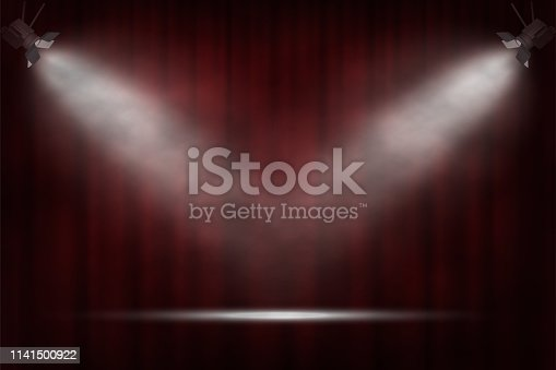 istock Spotlights on red curtain background. Vector cinema, theater or circus background. 1141500922