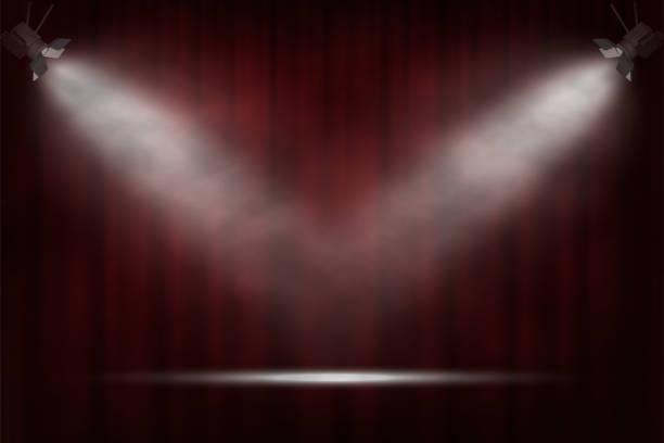 spotlights on red curtain background. vector cinema, theater or circus background. - comedian stock illustrations
