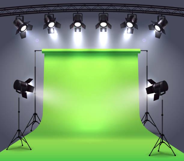 stockillustraties, clipart, cartoons en iconen met spotlights realistische samenstelling - green screen