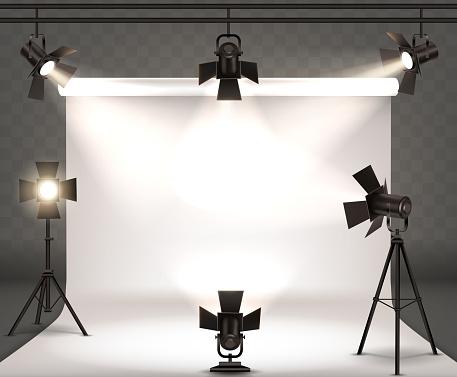 Spotlights realistic illustration with warm light