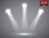 Spotlights scene transparent light effects. Stage light spotlight. Vector illustration
