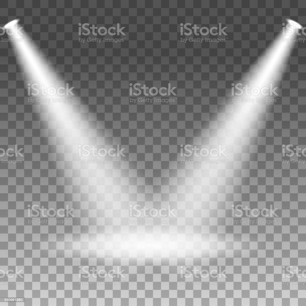 Spotlights shining on transparent background vector art illustration