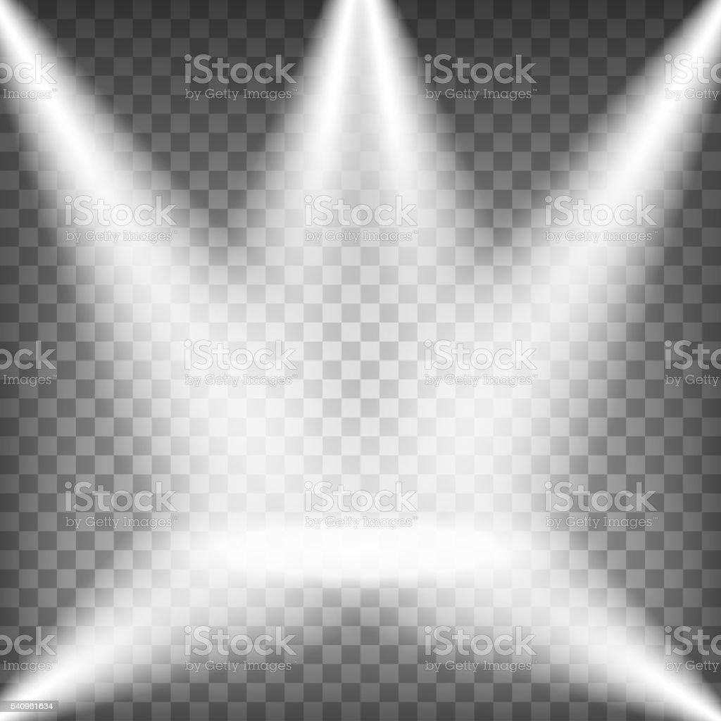 Spotlights shining on transparent background vector art illustration