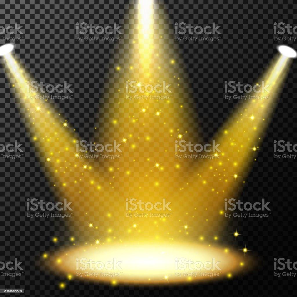 Spotlights shining with sprinkles falling on transparent background vector art illustration