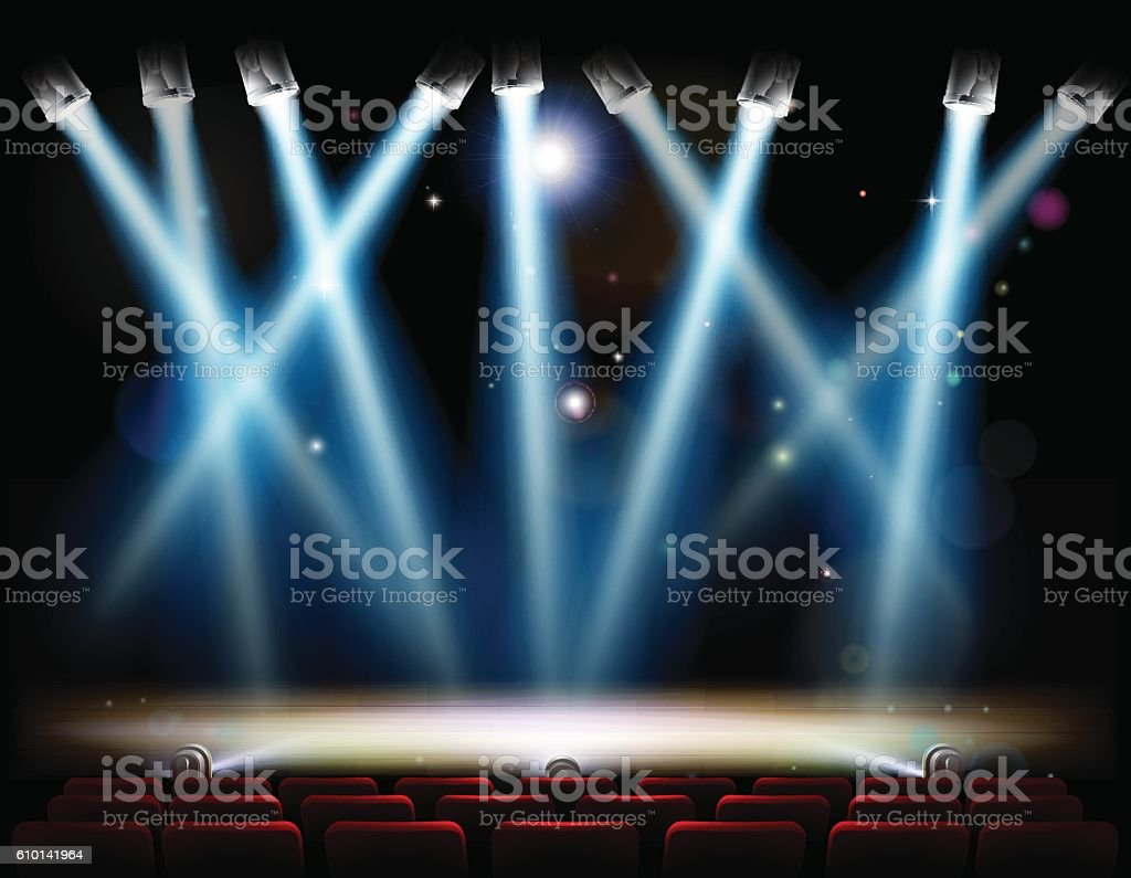 Spotlights Theater Stage royalty-free spotlights theater stage stock illustration - download image now