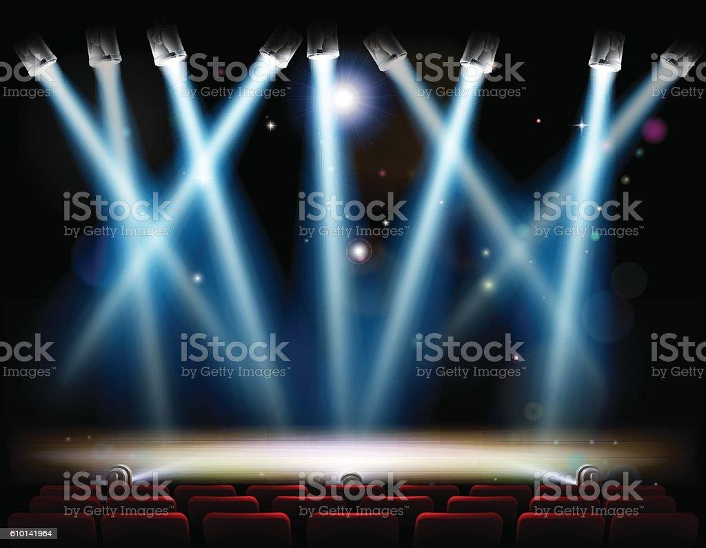 Spotlights Theater Stage vector art illustration