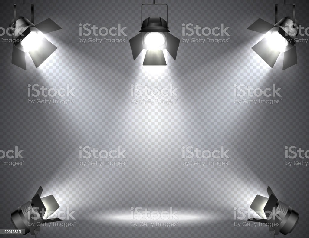 Spotlights with bright lights on transparent background. vector art illustration