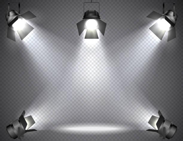 Spotlights with bright lights on transparent background. vector art illustration
