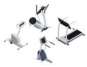 Spots cardio isometric equipment set with elliptical machine, st