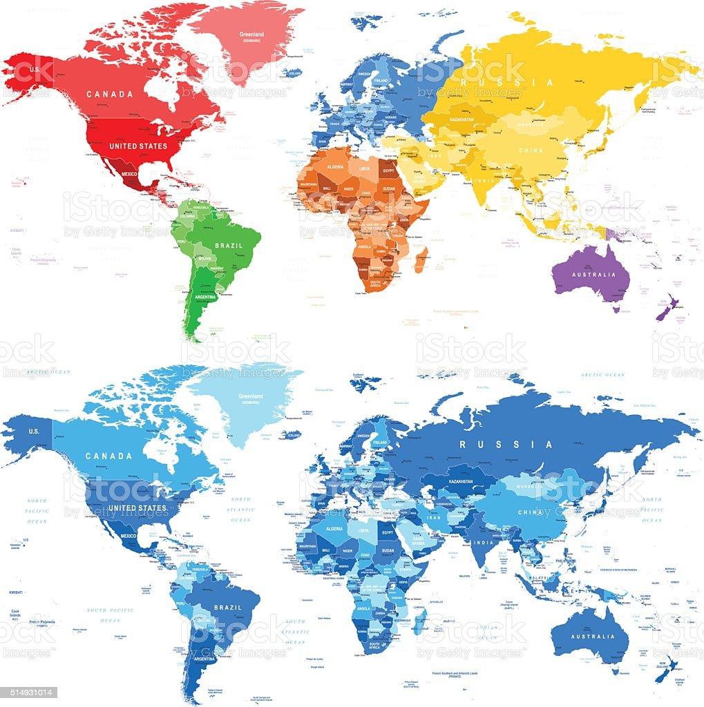 Bemerkenswert Weltkarte Mit Städten Beste Wahl Gefleckte Farbgebung Und Blauen Weltkarte-grenzen Ländern Und