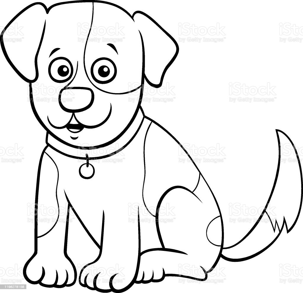 Spotted Puppy Cartoon Character Coloring Book Page Stock Illustration -  Download Image Now - IStock