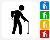 Sprained Elderly Man Icon Flat Graphic Design