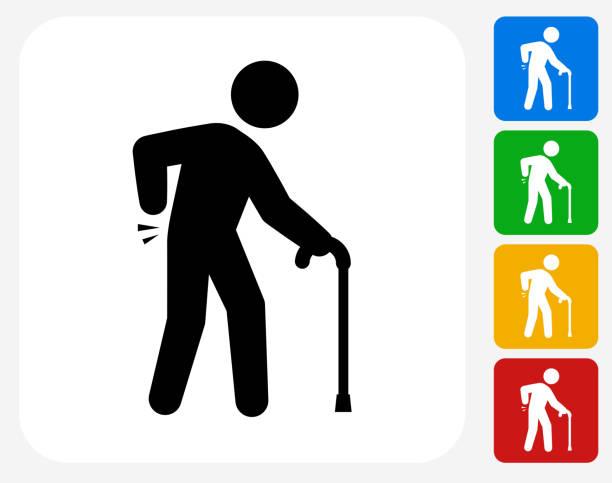 sprained elderly man icon flat graphic design - old man stick figure silhouette stock illustrations, clip art, cartoons, & icons