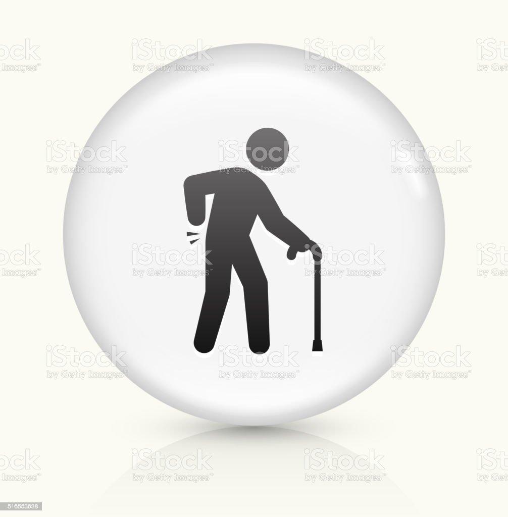 Sprained Elderly Man icon on white round vector button vector art illustration