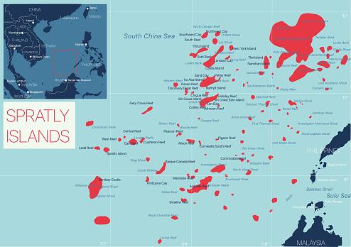 Spratly Island detailed editable map