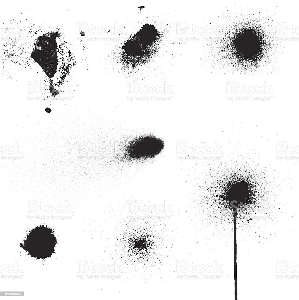Spray Blot Set vector art illustration