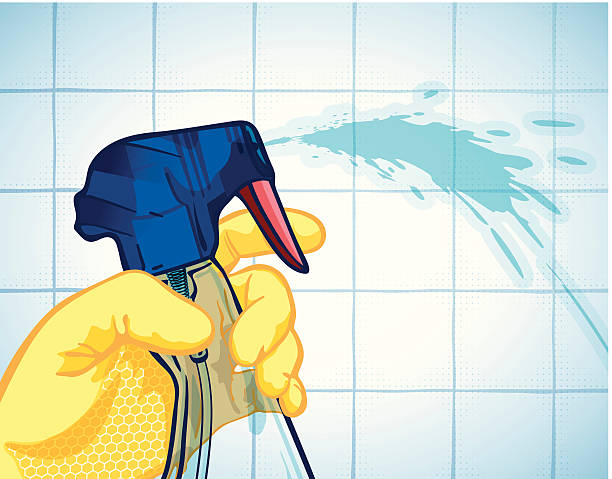 spray bottle and washing up gloves - bleach stock illustrations