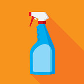 Vector illustration of a blue spray bottle against an orange background in flat style.