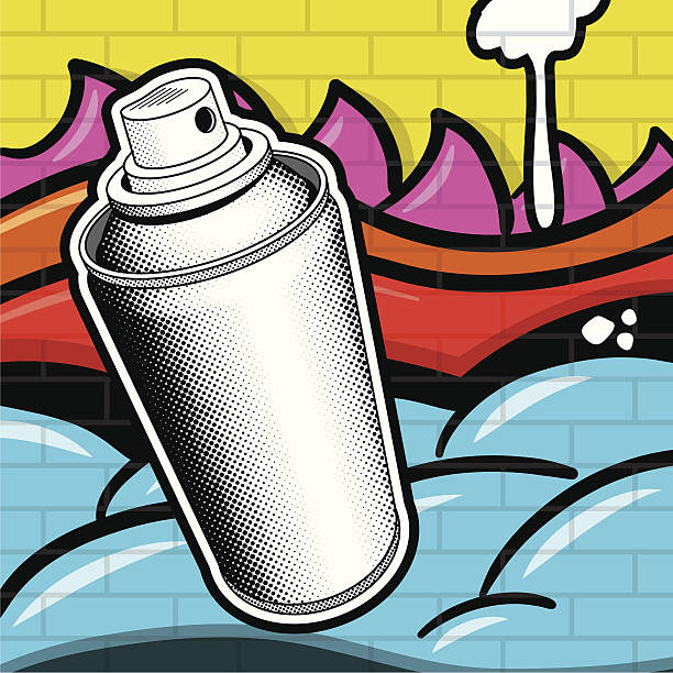 Spray Can and Grafitti Spray paint can with a grafitti backround. street art stock illustrations