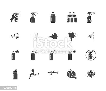 Spray can flat glyph icons set. Hand with aerosol, airbrush, powder coating, graffiti art, cough effect vector illustrations. Signs for disinfection, cleaning. Solid silhouette pixel perfect 64x64.