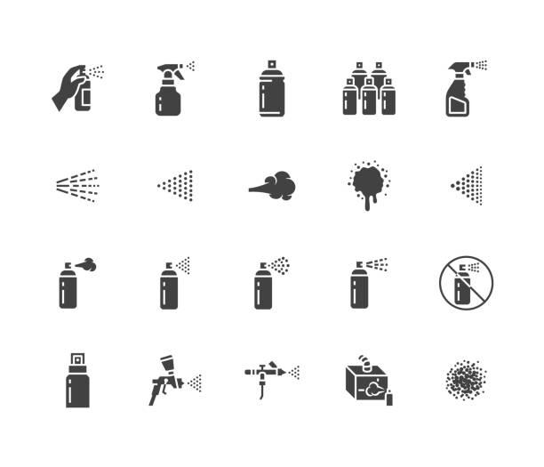 spray może płaskie ikony glifów zestaw. ręka z aerozolem, aerografem, powłoką proszkową, graffiti, ilustracjami wektorowymi efektu kaszlu. znaki dezynfekcji, czyszczenia. solidna sylwetka piksela idealna 64x64 - spray stock illustrations