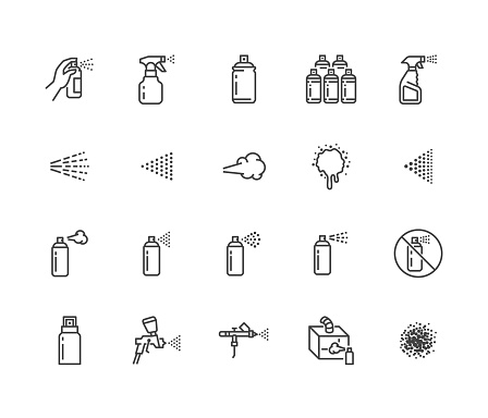 Spray can flat line icons set. Hand with aerosol, airbrush, powder coating, graffiti art, cough effect vector illustrations. Thin signs for disinfection, cleaning. Pixel perfect 64x64. Editable Stroke