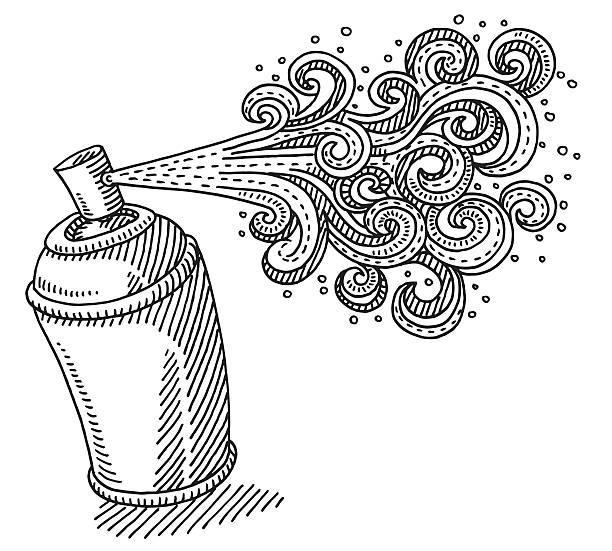 spray können windung kreativität zeichnung - haarsprays stock-grafiken, -clipart, -cartoons und -symbole