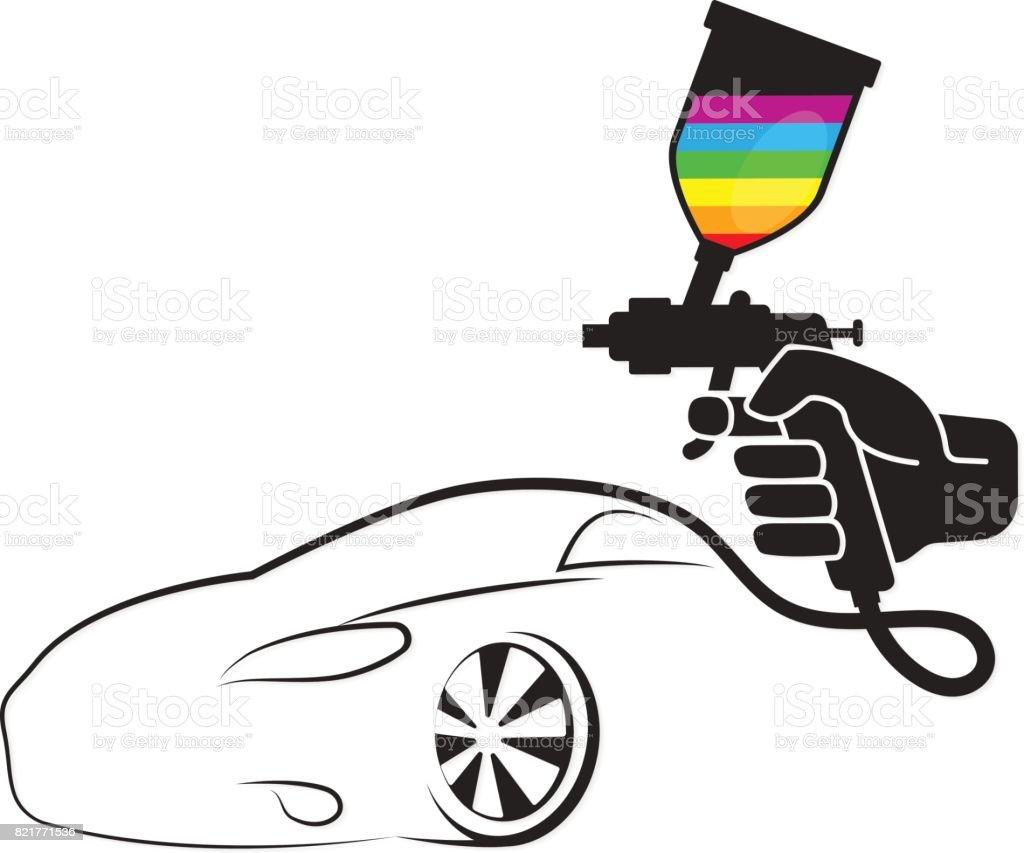 Sprey Boyama Arabalar Icin Stok Vektor Sanati Araba Motorlu