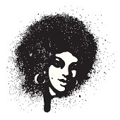 Afro style portrait with spray effect.