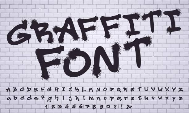 illustrations, cliparts, dessins animés et icônes de vaporiser la police de graffiti. lettrage de mur d'art de rue de ville, nombres sales de graffiti et ensemble de vecteur de lettres - graffiti