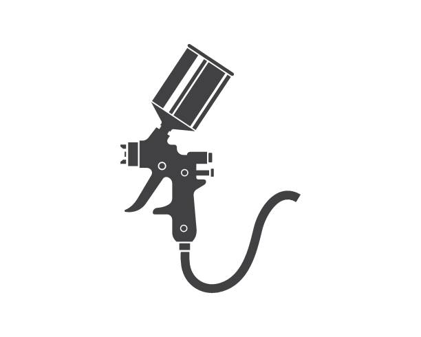 spray gun paint logo icon vector illustration spray gun paint logo icon vector illustration design airbrush stock illustrations